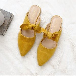 Mustard Pointy Toe Bow Knotted Suede Flats